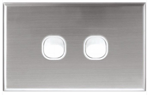 2 Gang Switch Plate Stainless Steel Series - Dexton