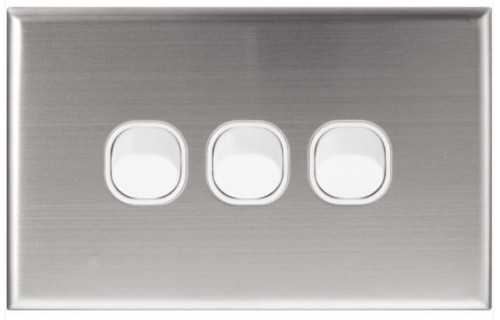 3 Gang Switch Plate Stainless Steel Series - Dexton