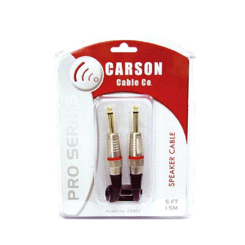 Carson Csh05 Pro 5 Foot/1.5M Black Speaker Cable Heavy Duty Plugs Gold Shafts