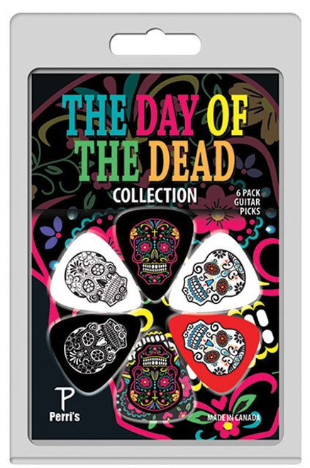 """6 Pack Of Perri'S """"The Day Of The Dead"""" Collection Celluloid Guitar Picks"""