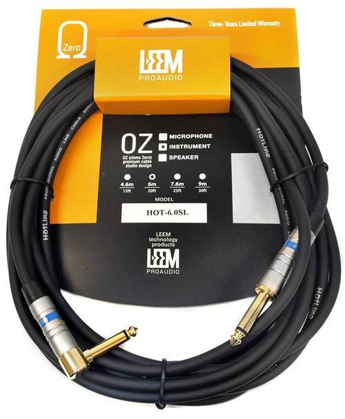 """Leem 20Ft Hotline Instrument Cable (1/4"""" Straight Plug - 1/4"""" Right-Angled Plug)"""