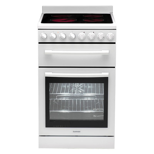Euromaid F54Cw 54Cm Freestanding Electric Oven + Ceramic Cooktop