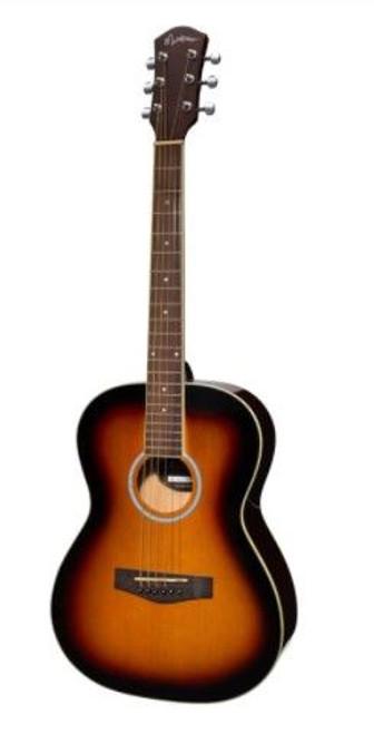 Martinez Acoustic Folk Size Guitar Pack With Built-In Tuner (Tobacco Sunburst)