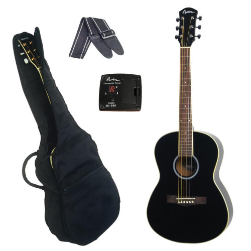 Martinez Steel-String Small-Body Folk Acoustic Guitar Pack (Black)