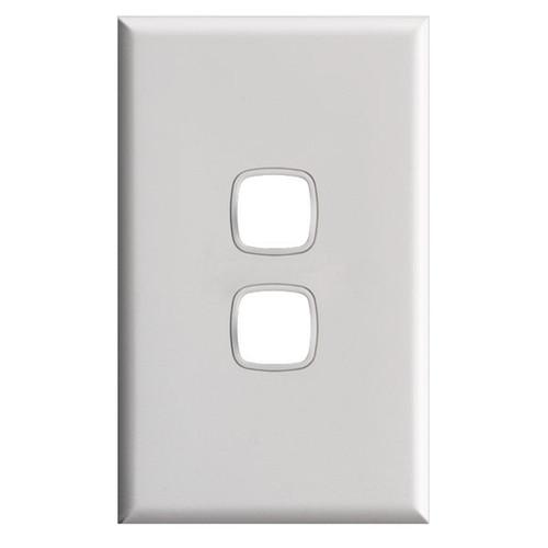 Switch Plate Xl 2 Gang White - HPM