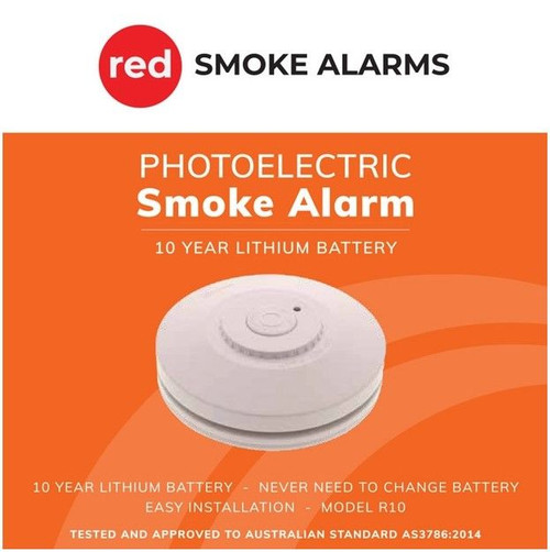 Red Smoke Alarms 10 Year Lithium Battery Stand-Alone Photoelectric Smoke Alarm