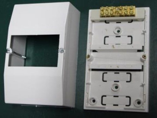 4 Module Surface Mounting Moulded Enclosure, Neutral Bar And Earth Connector Included