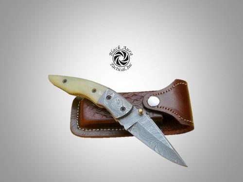 """8"""" Damascus Folding Knife (Camel Bone)"""