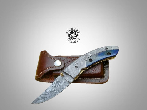 "7.5"" Damascus Folding Knife (Color Bone)"