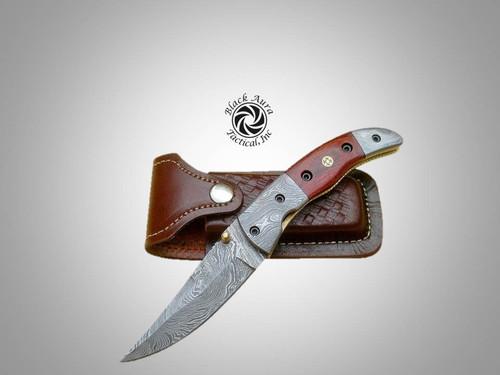 "8"" Damascus Folding Knife ( Pakka Wood)"