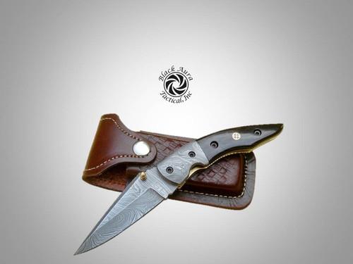 """8"""" Damascus Folding Knife (Buffalo Horn)"""