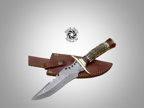 "12"" Damascus Bowie Knife (Stag Horn)"
