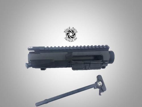 Black Aura's Billet   LR-308/AR-10 A3 Upper Receiver Assembled w/ Tac-latch Charge Handle Bundle