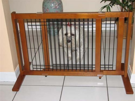 Signature Series Traditional Wood Wire Pet Gate - Small