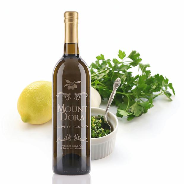 A 750mL bottle of Mount Dora Milanese Gremolata Infused Olive Oil
