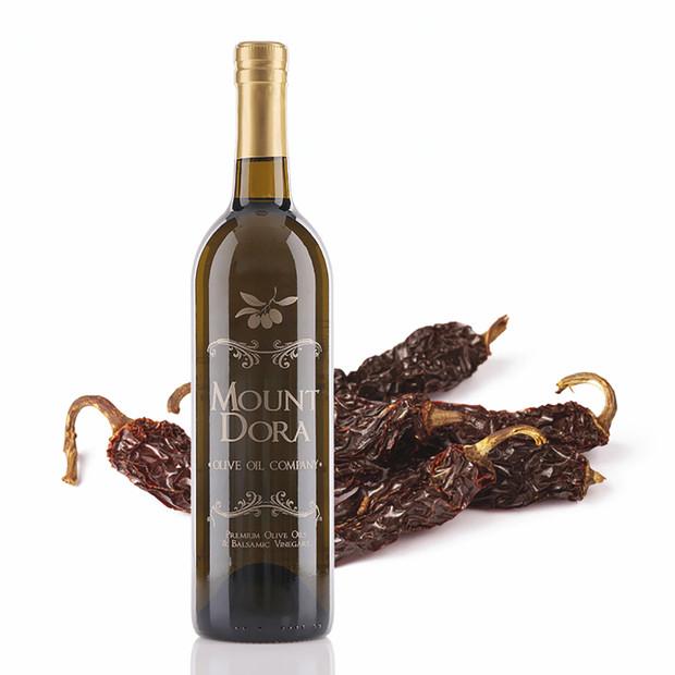 A 750mL bottle of Mount Dora Chipotle Infused Olive Oil
