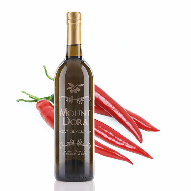 A 750mL bottle of Mount Dora Red Cayenne Chili Fused Olive Oil