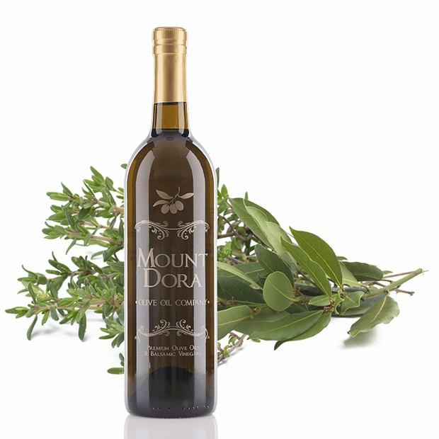 A 750mL bottle of Mount Dora Herbs De Provence Infused Olive Oil