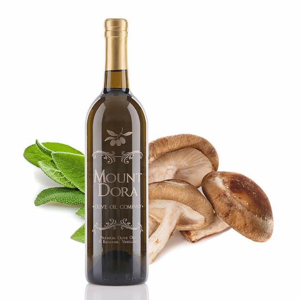 A 750mL bottle of Mount Dora Wild Mushroom & Sage Infused Olive Oil