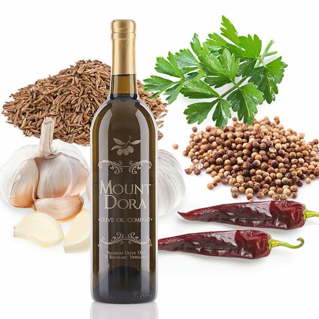 A 750mL bottle of Mount Dora Harissa Fused Olive Oil
