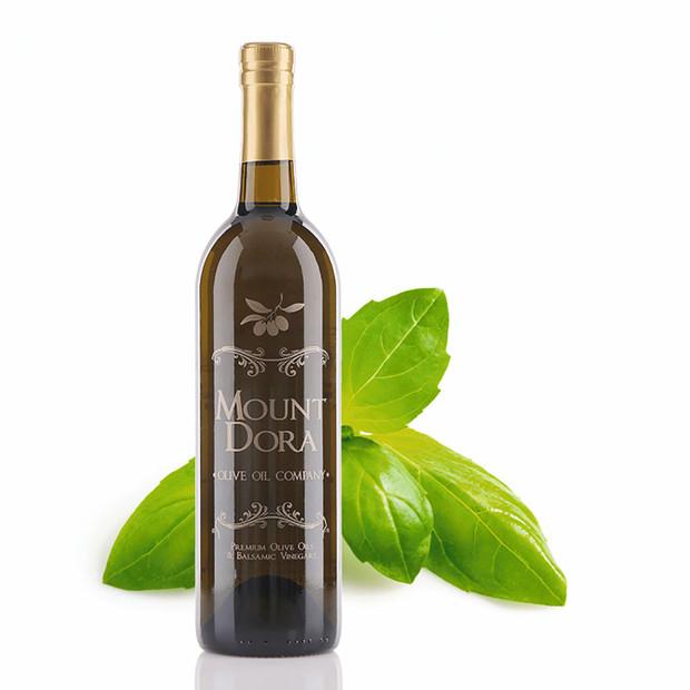 A 750mL bottle of Mount Dora Basil Infused Olive Oil