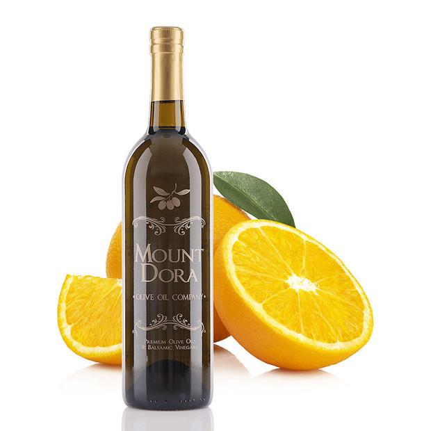 A 750mL bottle of Mount Dora Sweet Valencia Orange Infused Olive Oil