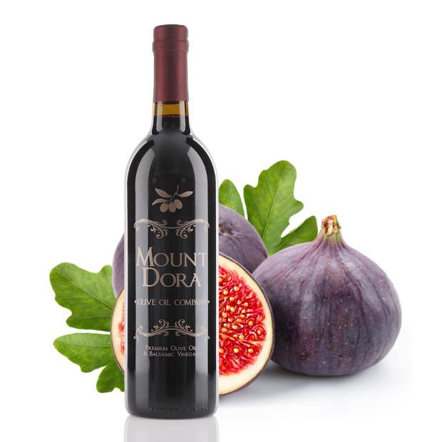 A 750mL bottle of Mount Dora Black Mission Fig Dark Balsamic Vinegar