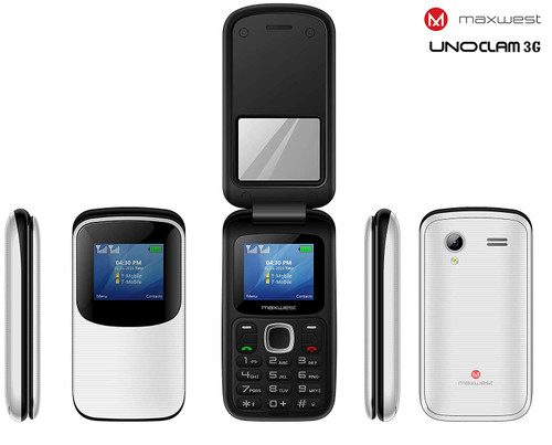 MAXWEST UNO Clam 3G FLIP Phone Unlocked - BLACK