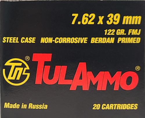 TulAmmo 7.62x39 122 Grain FMJ 1,000 Round Case