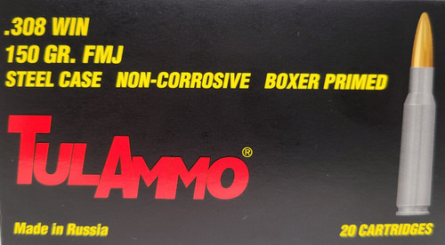 TulAmmo .308 WIN 150 Gr. FMJ FAST Shipping