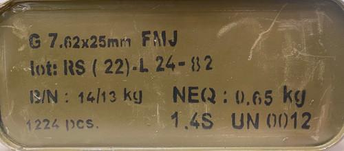 Romanian Surplus 7.62x25mm Tokarev 86 grain FMJ 1224 Rounds Sealed Tin