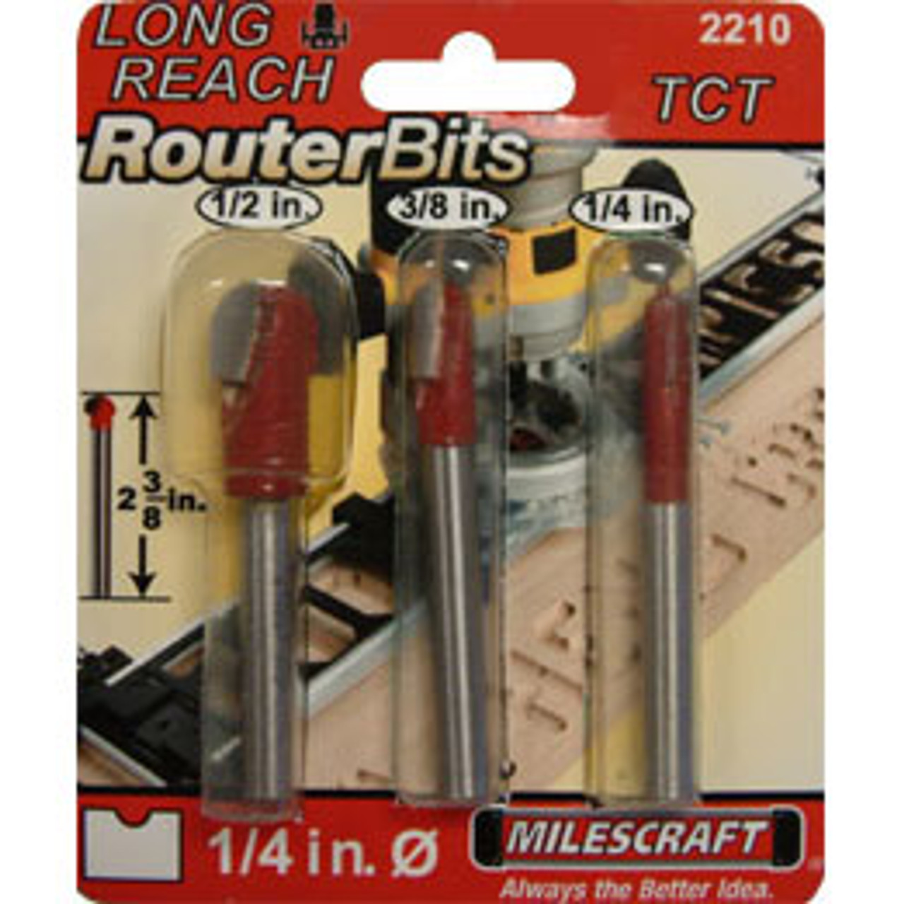 Milescraft Long Reach Router Bits For SignCrafter & SignPro 3pc Set