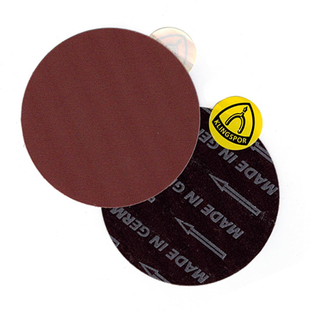 "Klingspor Abrasives 6"" No Hole, Cloth Backed, Pressure Sensitive Adhesive, 220 Grit Discs, 5pk"