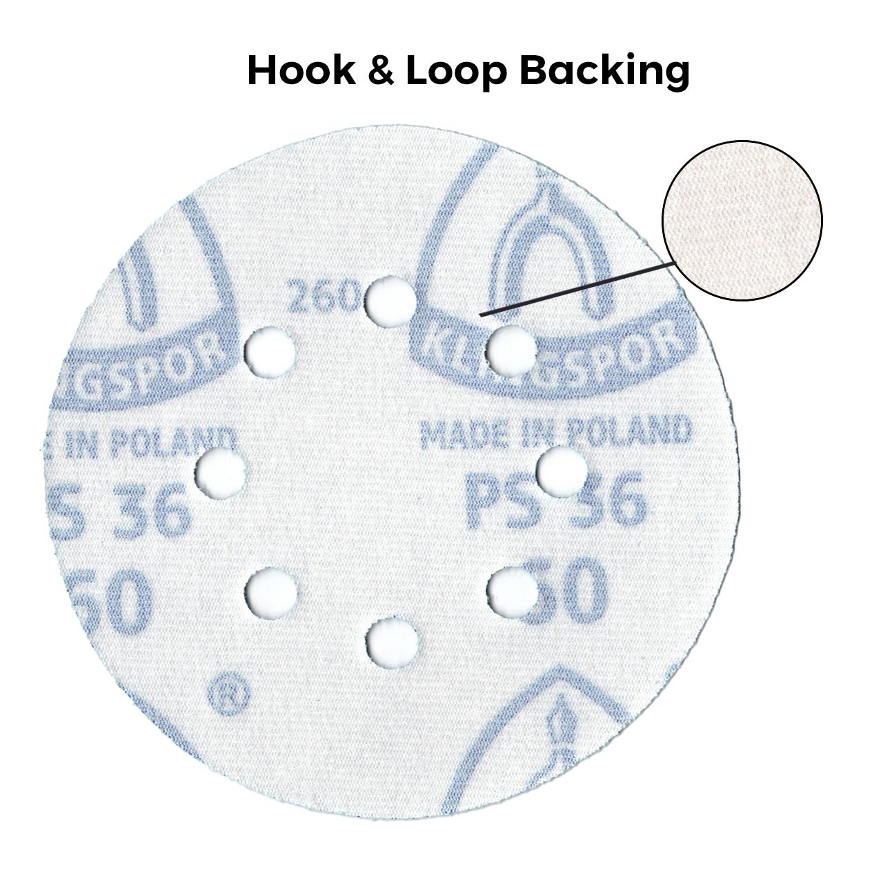 Klingspor Abrasives 5 Inch X 8 Hole Hook & Loop Backing