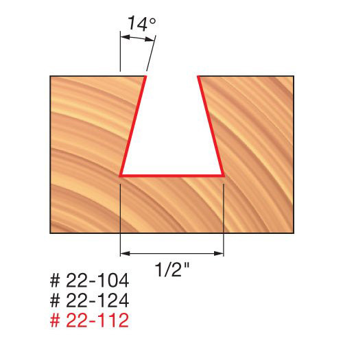"Freud 1/2"" Dovetail Router Bit, 14° Angle, 1/2"" Carbide Height, 1/4"" Shank, 1/2"" Overall Diameter, 2-5/8"" Overall"