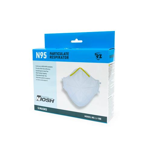 RZ N95 Particulate Respirators 5 Pack