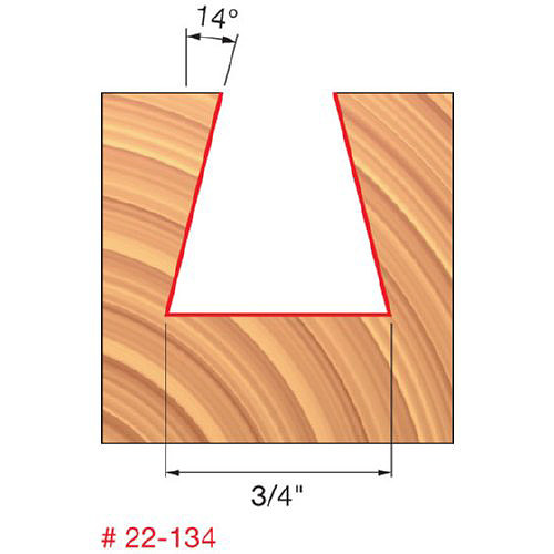 """Freud 3/4"""" Dovetail Router Bit, 14 Deg. Angle, 3/4"""" Carbide Height, 1/2"""" Shank, 3/4"""" Overall Diameter, 3-1/8"""" Overall"""