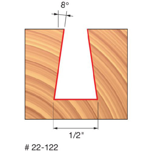 """Freud 1/2"""" Dovetail Router Bit, 8 Deg. Angle, 13/16"""" Carbide Height, 1/4"""" Shank, 2-3/4"""" Overall Length,"""