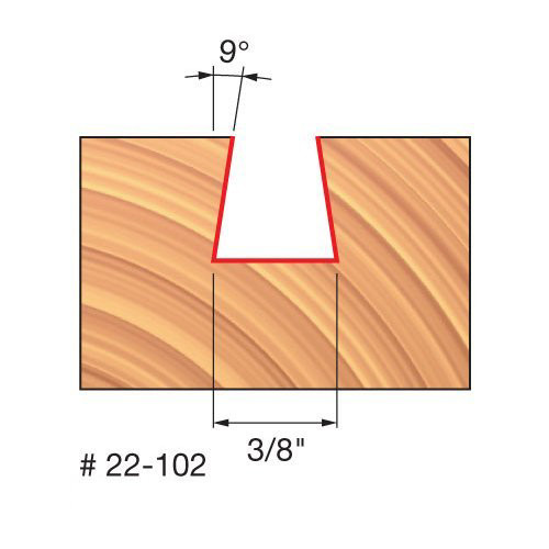 """Freud 3/8"""" Dovetail Router Bit, 9 Deg. Angle, 3/8"""" Carbide Height, 1/4"""" Shank, 3/8"""" Overall Diameter, 1-7/8"""" Overall"""