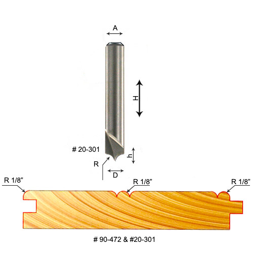 """Freud 1/8"""" Radius V-Groove Router Bit, 3/16"""" Carbide Height, 1/4"""" Shank, 1/4"""" Overall Diameter, 1-3/4"""" Overall"""