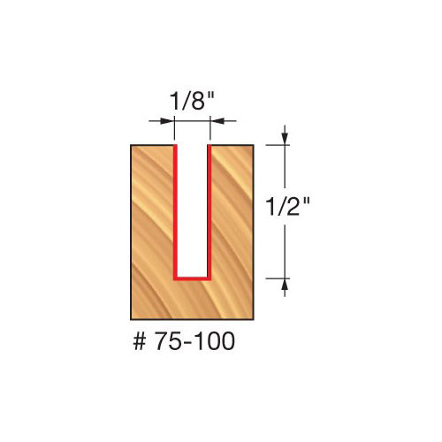 """Freud 1/8"""" Up-Spiral Router Bit, 1/2"""" Carbide Height, 1/4"""" Shank, 2"""" Overall Length"""