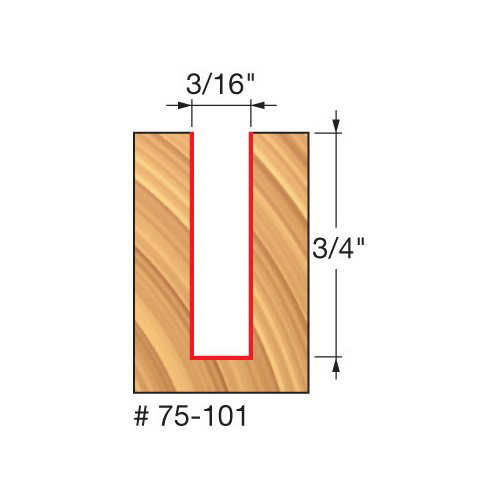 """Freud 3/16"""" Up-Spiral Router Bit, 3/4"""" Carbide Height, 1/4"""" Shank, 2"""" Overall Length"""