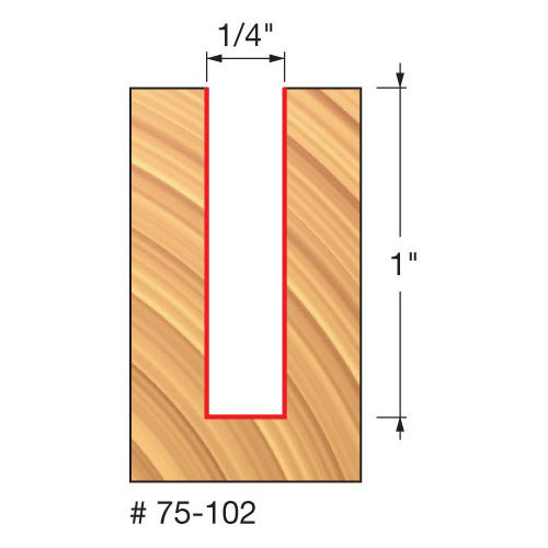 """Freud 1/4"""" Up-Spiral Router Bit, 1"""" Carbide Height, 1/4"""" Shank, 2-1/2"""" Overall Length"""