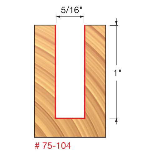 """Freud 5/16"""" Up-Spiral Router Bit, 1"""" Carbide Height, 1/2"""" Shank, 3"""" Overall Length"""