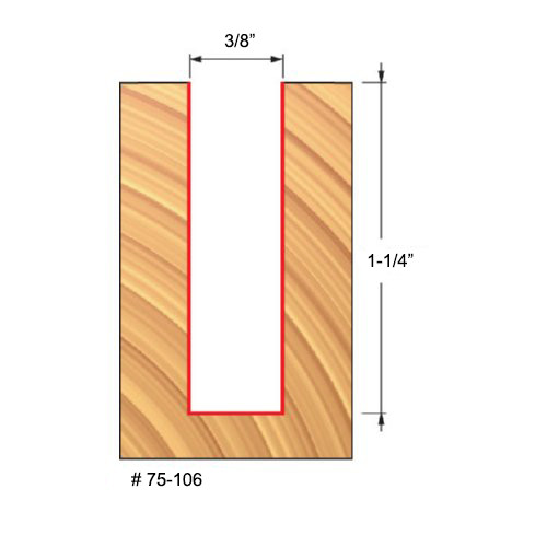 """Freud 3/8"""" Up-Spiral Router Bit, 1-1/4"""" Carbide Height, 1/2"""" Shank, 3"""" Overall Length"""