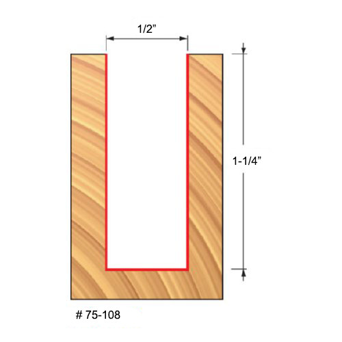 """Freud 1/2"""" Up-Spiral Router Bit, 1-1/4"""" Carbide Height, 1/2"""" Shank, 3"""" Overall Length"""