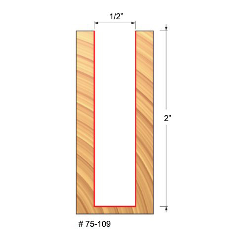 """Freud 1/2"""" Up-Spiral Router Bit, 2"""" Carbide Height, 1/2"""" Shank, 4"""" Overall Length"""