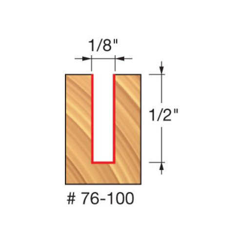 """Freud 1/8"""" Down-Spiral Router Bit, 1/2"""" Carbide Height, 1/4"""" Shank, 2"""" Overall Length"""