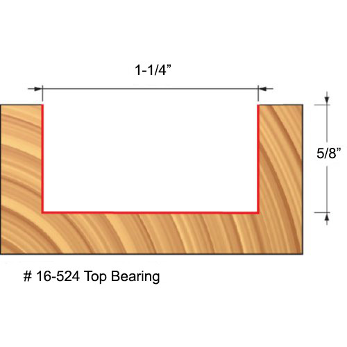 "Freud Top Bearing Mortising Router Bit, 1-1/4"" Diameter, 5/8"" Carbide Height, 1/2"" Shank"