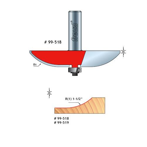 "Freud Quadra-Cut Raised Panel Bit, 1-1/2"" Large Radius 1/2"" Carbide Height, 2-1/2"" Overall Diameter, 1/2"" Shank"